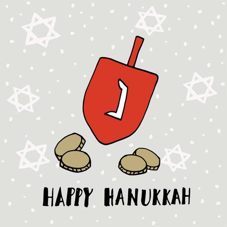 gelt: Hanukkah greeting card, invitation with hand drawn dreidle, coins and jewish stars. Vector illustration for Jewish Festival of light. Illustration