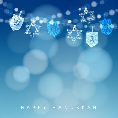 Hanukkah blue background with string of lights, dreidels and jewish stars. Festive party decoration. Modern blurred vector illustration for Jewish Festival of light.