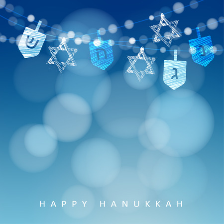 blue party: Hanukkah blue background with string of lights, dreidels and jewish stars. Festive party decoration. Modern blurred vector illustration for Jewish Festival of light.