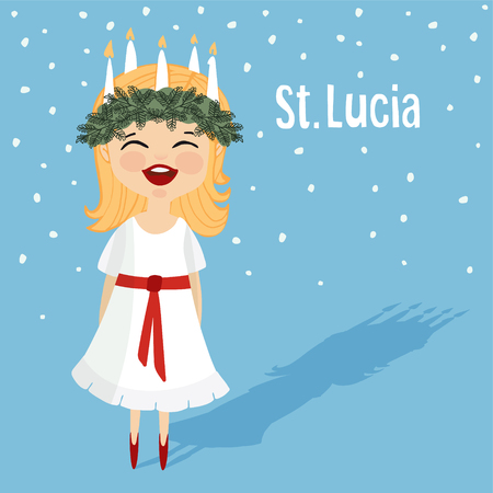 Cute little girl with wreath and candle crown, Saint Lucia. Swedish Christmas tradition. Flat design, vector illustration background.