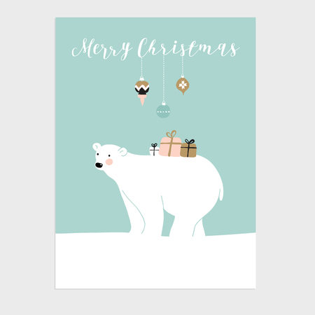 Cute Christmas greeting card, invitation with polar bear, gift boxes and Christmas balls. Hand drawn design. Vector illustration background. Illustration