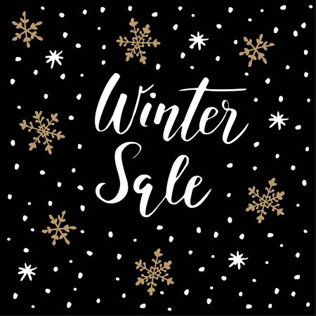 Winter sale background with handwritten text, doodle snowflakes and stars. Promotion business concept. Vector illustration, lettering.