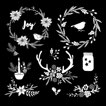 Set of white chalk flowers, leaves, wreath and branches on blackboard. Isolated Christmas floral elements and decorations. Hand drawn vector illustrations.
