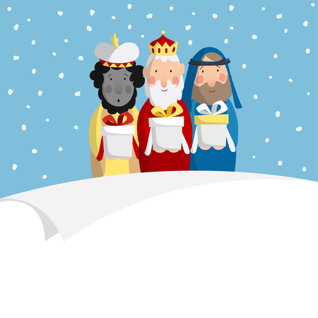 balthazar: Cute Christmas greeting card, invitation with three magi bringing gifts and blank paper. Biblical kings Caspar, Melchior and Balthazar. Flat design, vector illustration background.