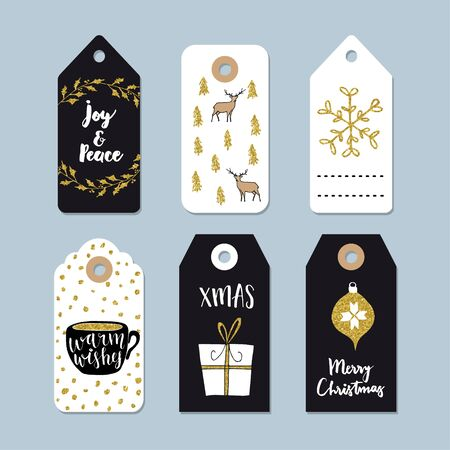Vintage Christmas gift tags set. Hand drawn labels with golden Christmas holly wreath, deer, coffee and present. Isolated vector illustration objects. Illustration
