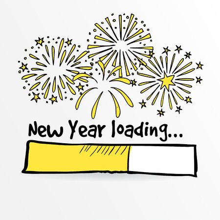 Loading bar with fireworks, new year, anniversary or party concept, vector illustration sketch