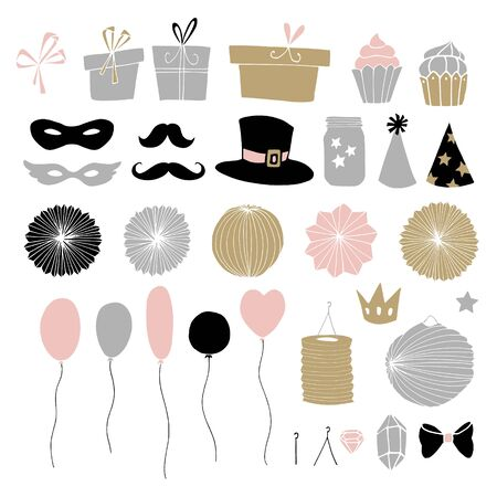 Set of hand drawn party elements. Doodle gift boxes, paper lanterns, balloons and other decorations. Isolated vector illustrations, birthday objects. Illustration