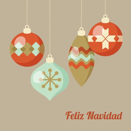 Retro Merry Christmas greeting card, invitation, Spanish Feliz Navidad. Hanging Christmas balls. Flat design. Vector illustration background. Illustration