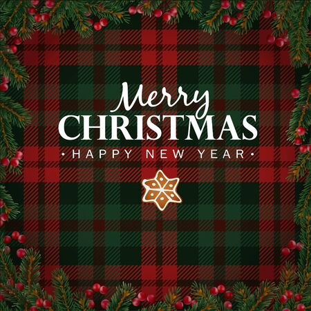 new year border: Merry Christmas and Happy New Year greeting card, invitation. Christmas tree branches, red berries border and gingerbread star. White text over tartan checkered plaid, vector illustration background.