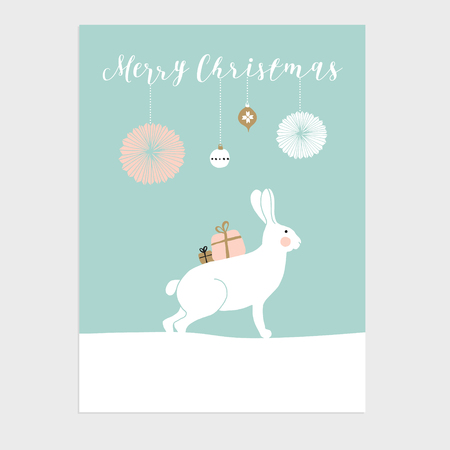 Cute Christmas greeting card, invitation with polar hare or rabbit, gift boxes and Christmas balls. Hand drawn design. Vector illustration background.