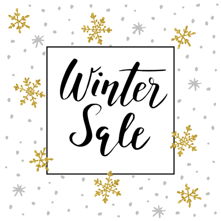 Winter sale background with handwritten text, golden doodle snowflakes and stars. Promotion business concept. Vector illustration, lettering. Illustration