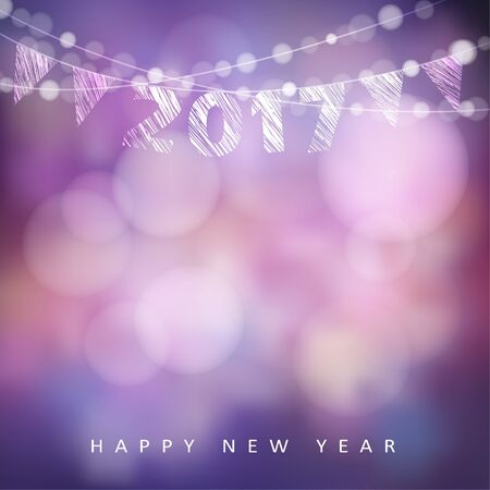 Happy new year greeting card with 2017, glittering lights and party flags. Modern blurred vector illustration background
