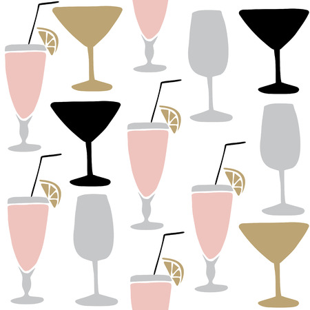 daiquiri alcohol: Set of hand drawn alcoholic drinks and cocktails. Seamless pattern. Isolated vector illustrations.