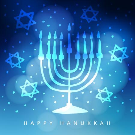 Hanukkah greeting card, invitation with hand drawn menorah, candelabra and jewish stars. Modern blurred vector illustration background for Jewish festival of light.