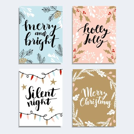 christmas plaid: Merry Christmas greeting card, invitation. Reindeer with Christmas bouquet, floral decoration. Tartan checkered plaid, vector illustration background.