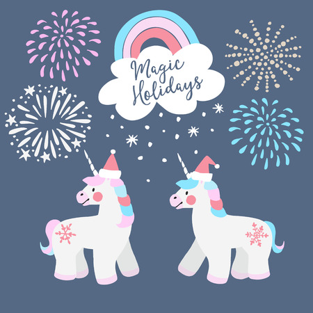 Cute Christmas greeting card, invitation. Little unicorns with Santa hats, rainbow and falling snow. Festive fairytale elements with fireworks. Isolated vector objects, flat design.