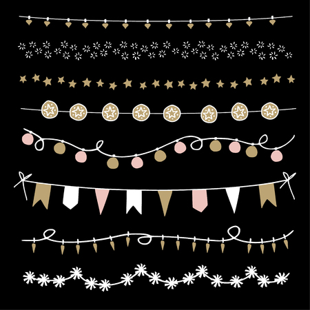 Set of Christmas borders and strings. Hand drawn garlands and brushes. Party decoration with Christmas balls, lights and stars. Isolated vector objects.