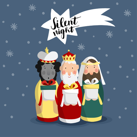 Cute Christmas greeting card, invitation with three magi bringing gifts and falling star. Biblical kings Caspar, Melchior, Balthazar. Hand lettered comet. Flat design, vector illustration background. Illustration