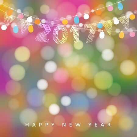 Happy new year greeting card with string of glittering lights, 2017 and flags. Party decoration. Modern blurred background, vector illustration.