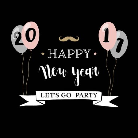 Happy New Year 2017 greeting card , invitation with hand drawn party balloons and mustache icon. Hipster design.Vector illustration, background Illustration