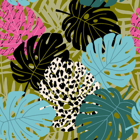 Tropical palm and monstera leaf seamless pattern with leopard skin texture. Hawaiian design, vector illustration background.