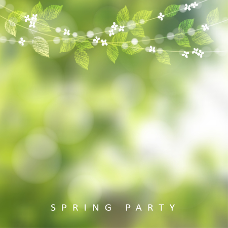 modern garden: Spring greeting card, invitation. String of lights, leaves and cherry blossoms. Modern blurred background, garden party decoration.