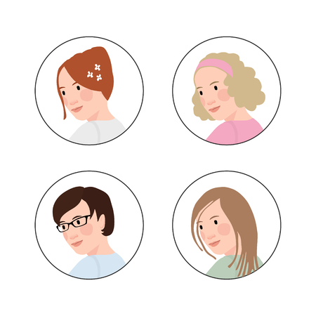 Set of hand drawn womens heads with various hair styles. Circle icons. Avatars for social websites.