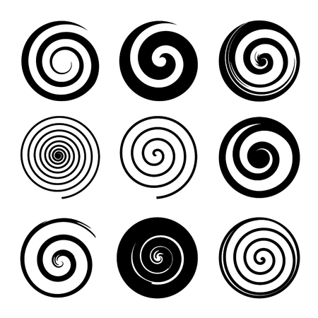 Set of spiral and swirl motion elements, black isolated objects. Different brush textures. Vector illustrations.