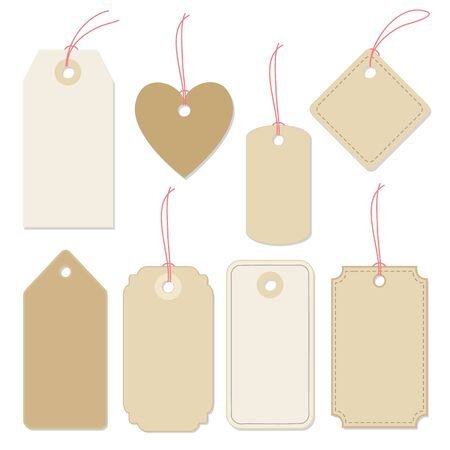 paper tags: Set of various blank paper tags, labels with strings. Isolated vector elements Flat design.