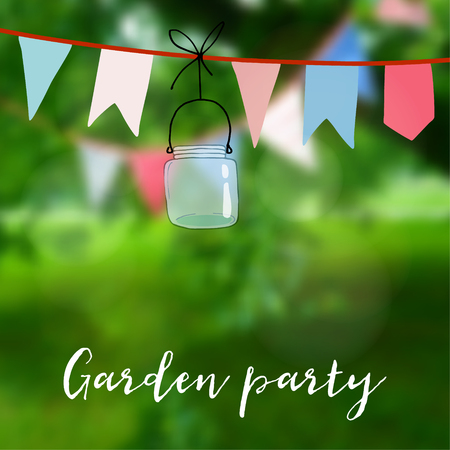 Birthday garden party or Brazilian june party card. Decoration with flags and jar. Vector illustration with modern blurred background. Illustration
