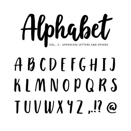 handwritten: Hand drawn vector alphabet, font. Isolated letters written with marker or ink. Brush script.
