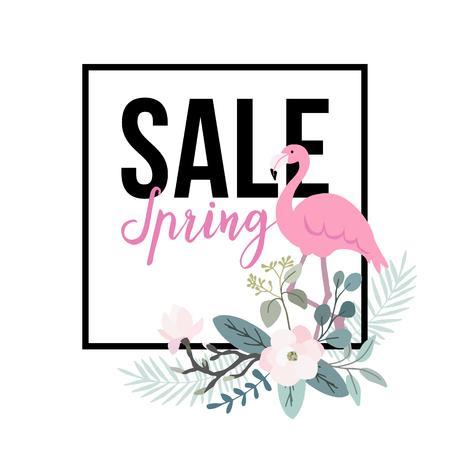 Manifesto di vendita di primavera. uccello Flamingo con foglie di palma, fiori di magnolia e foglie di eucalipto, banner web, sfondo. illustrazione Archivio vettoriale. disegno giungla piatto.