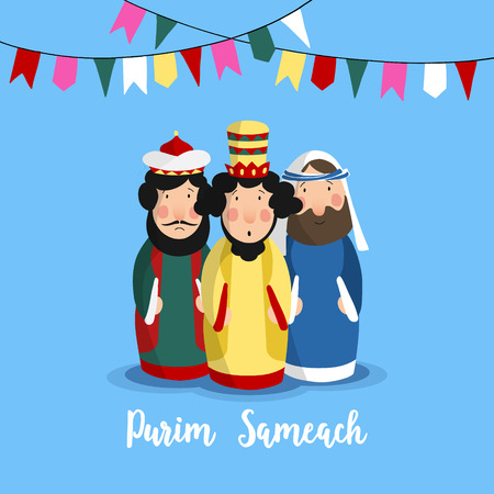 Purim Sameach holiday greeting card for the Jewish festival. Hand drawn king Ahasuerus, Haman and Jew Mordecai and party flags, vector illustrations for the Megillahs tale.