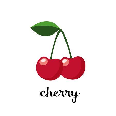 Par de cerezas con hojas. Icono de vector aislado. Ilustración de fruta., Diseño plano.