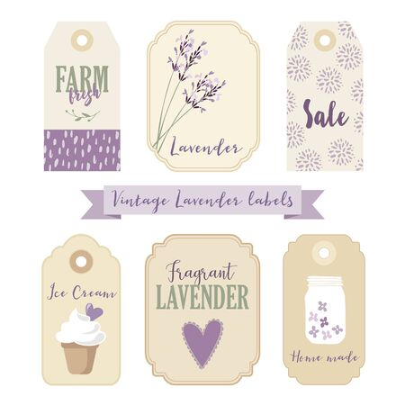 mason: Set of vintage labels and tags with lavender. Isolated vector objects, illustrations.