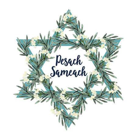 Pesach Passover greeting card with Jewish star, hand drawn olive branches and flowers. Vector illustration background. Illustration