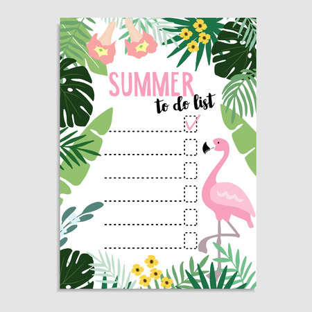Summer greeting card, invitation. Wish list or to do list. Illustration