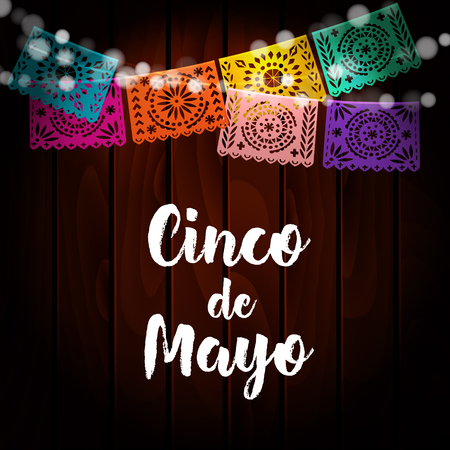 Mexican Cinco de Mayo greeting card, invitation. Party decoration, string of lights, handmade cut paper flags. Old wooden background. Vector illustration. Stock Vector - 74831946