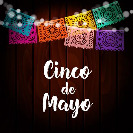 tarjeta de felicitación mexicana del Cinco de Mayo, la invitación. la decoración del partido, cadena de luces, hecho a mano cortó banderas de papel. fondo de madera vieja. Ilustración del vector. Ilustración de vector
