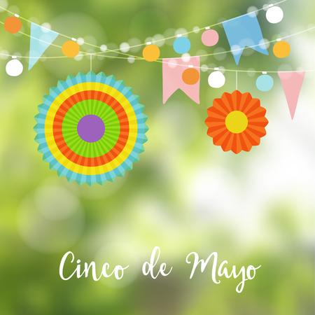 墨西哥Cinco de Mayo贺卡,邀请。党装饰,灯泡,纸旗子和五颜六色的灯笼的串。现代被弄脏的背景。矢量图。