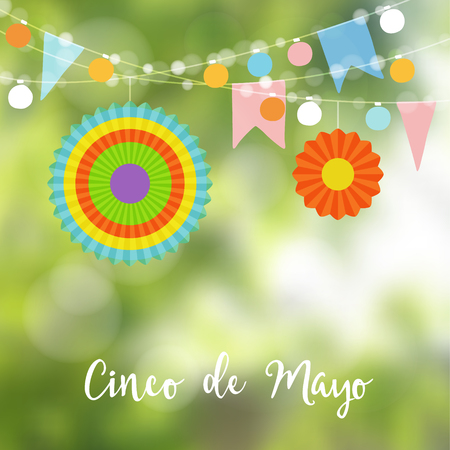 Mexican Cinco de Mayo greeting card, invitation. Party decoration, string of light bulbs, paper flags and colorful lanterns. Modern blurred background. Vector illustration.