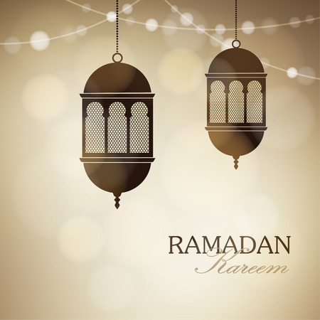 arabic background: Illuminated arabic lamps, lanterns with string of lights. Golden vector illustration background for Muslim community holy month Ramadan Kareem.