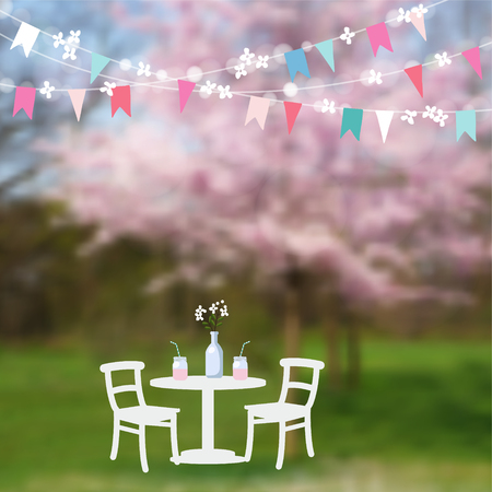 Spring garden party. Table with drinks and paper flags decoration. Modern blurred background with blossoming Japanese cherry trees. Vector illustration background.