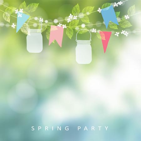 誕生日ガーデン パーティーやフェスタ ジュニーナ グリーティング カード、招待状。ライト、紙フラグおよび石工の瓶ランタンの文字列。ぼやけて  イラスト・ベクター素材