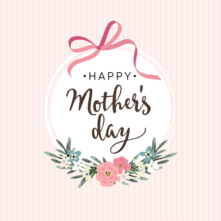 happy mother: Mothers day greeting card, invitation with ribbon, flowers. Illustration