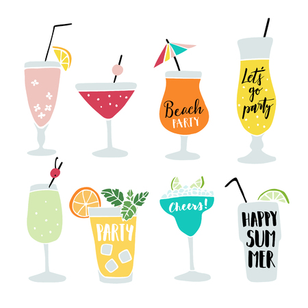 drinks party: Set of hand drawn alcoholic drinks, cocktails with lettering quotes. Summer holiday and beach party concept. Isolated vector icons. Illustration