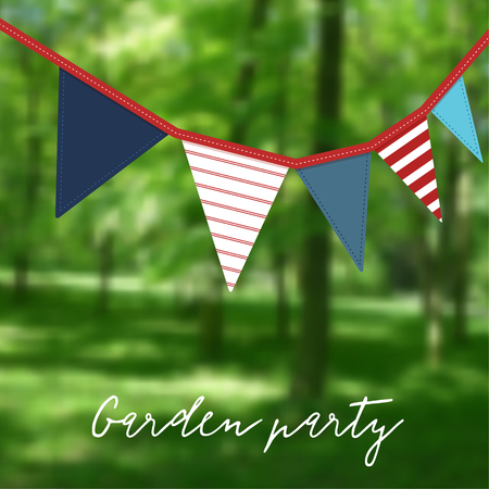 modern garden: Birthday garden party. Brazilian june party. Festa junina. Party decoration with flags, modern blurred background. Vector illustration. Illustration