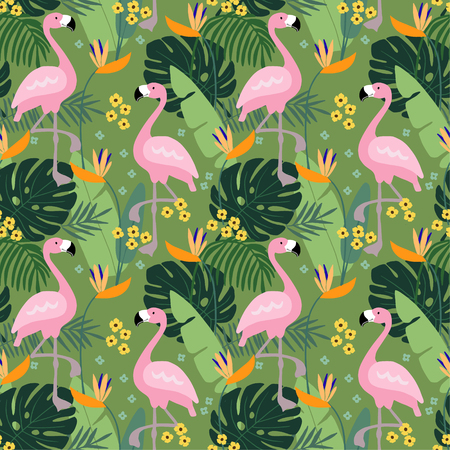 Tropical jungle seamless pattern with flamingo bird, palm leaves and flowers. Flat design, vector illustration background. Illustration