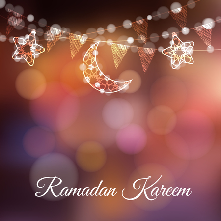 Garlands with decorative moons, stars, lights and party flags. Vector illustration card, invitation for Muslim community holy month Ramadan Kareem. Colorful festive blurred background.