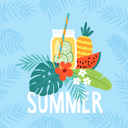 Hand drawn summer greeting card, invitation with lemonade drink in mason jar. Watermelon and pineapple fruit with tropical palm leaves and hibiscus flower. Vector illustration, web banner. Illustration